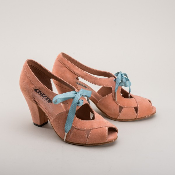 Cora - Suede Sandals 1940s  - Coral