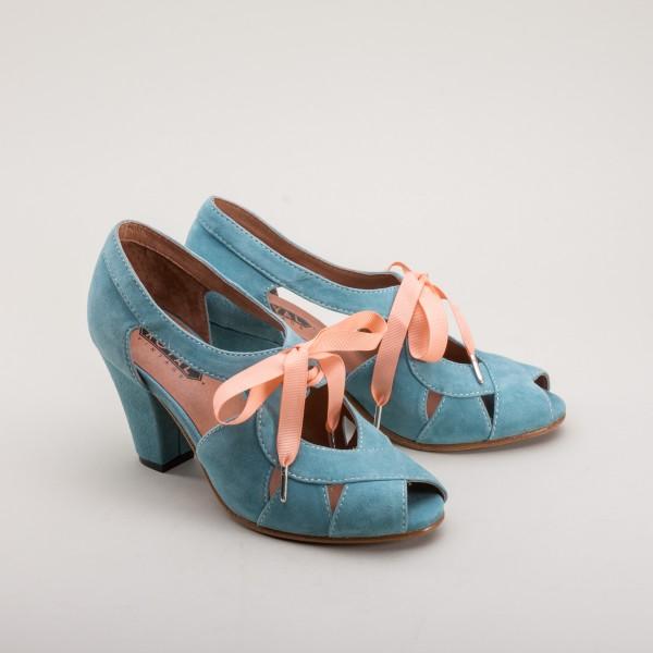 Cora - Suede Sandals 1940s  - Teal