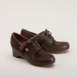 Harriet Wedge Oxfords- Brown