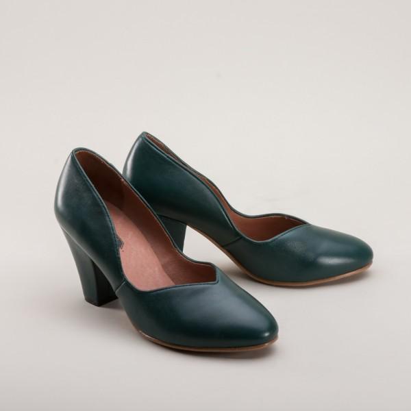 Marilyn - 1940s Slip-ons Green