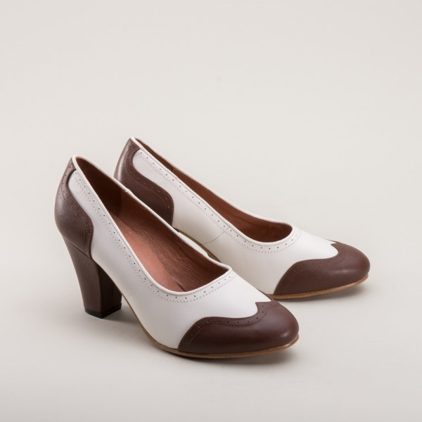 Peggy 1940s two tone slip-on Brown/White