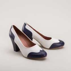 Peggy 1940s two tone slip-on Blue/White