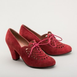 Alice - Suede Cutout Oxfords - Carnelian red Size 6