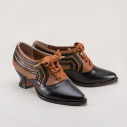PREORDER Bernadette Edwardian Ladies Oxford Shoe - Cognac/Black