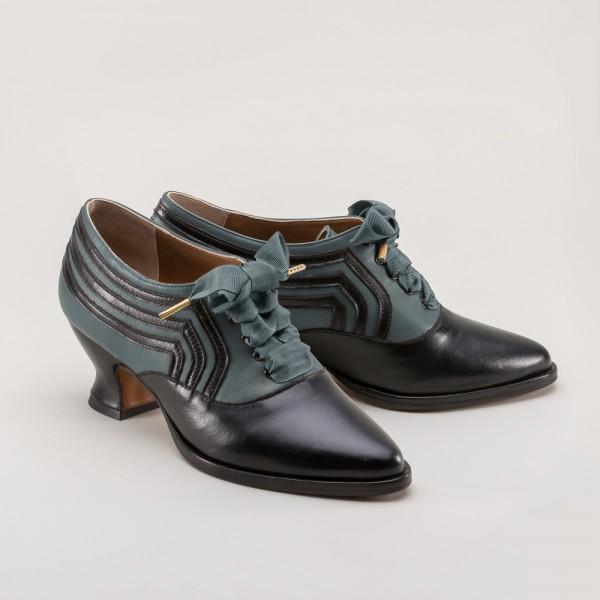 PREORDER Bernadette Edwardian Ladies Oxford Shoe - Blue/Black