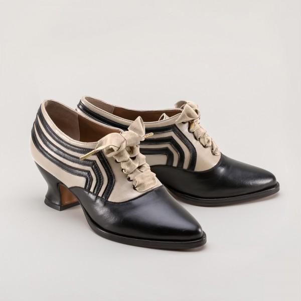 PREORDER - Bernadette Edwardian Ladies Oxford Shoe - Ivory/Black