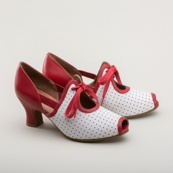 Ginger - Peep toe sandal red/white