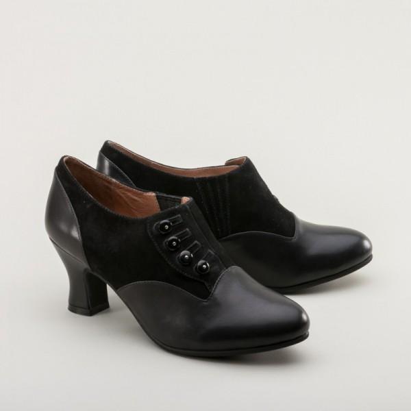 Greta 1930s/40s button shoes - Black