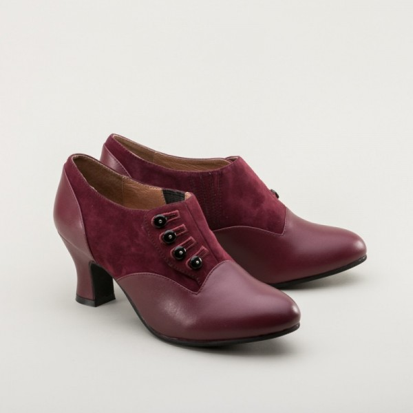 Greta 1930s/40s button shoes - Garnet red