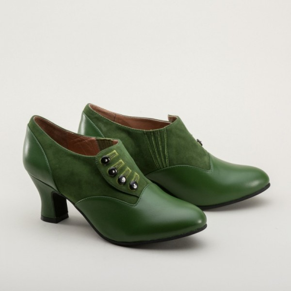 Greta 1930s/40s button shoes - Green