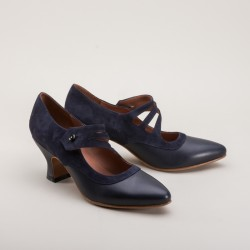 Mae Button shoe - Blue