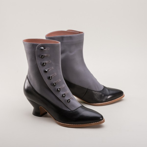 Manhattan Button Boots Grey/Black