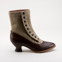 Manhattan Button Boots Tan/Brown