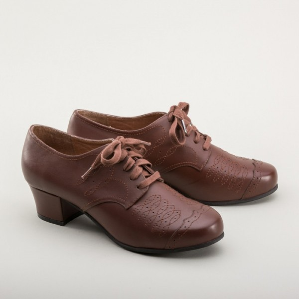 Ruth 1940s Brogue - Brown