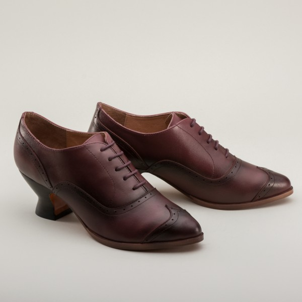 PREORDER Londoner Edwardian Oxford Ladies Shoes - Cherry