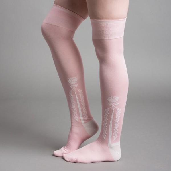 18th C Clocked Silk Stockings - Pink